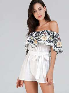 Off Shoulder Embroidered Belted Jumpsuit