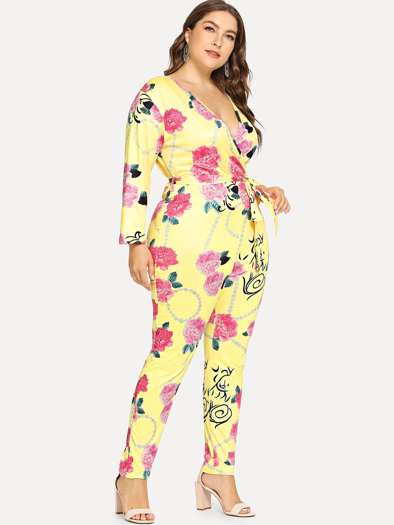 Plus Tie Waist Surplice Wrap Floral Jumpsuit щетки стеклоочистителя bosch 330mm 3 397 011 306