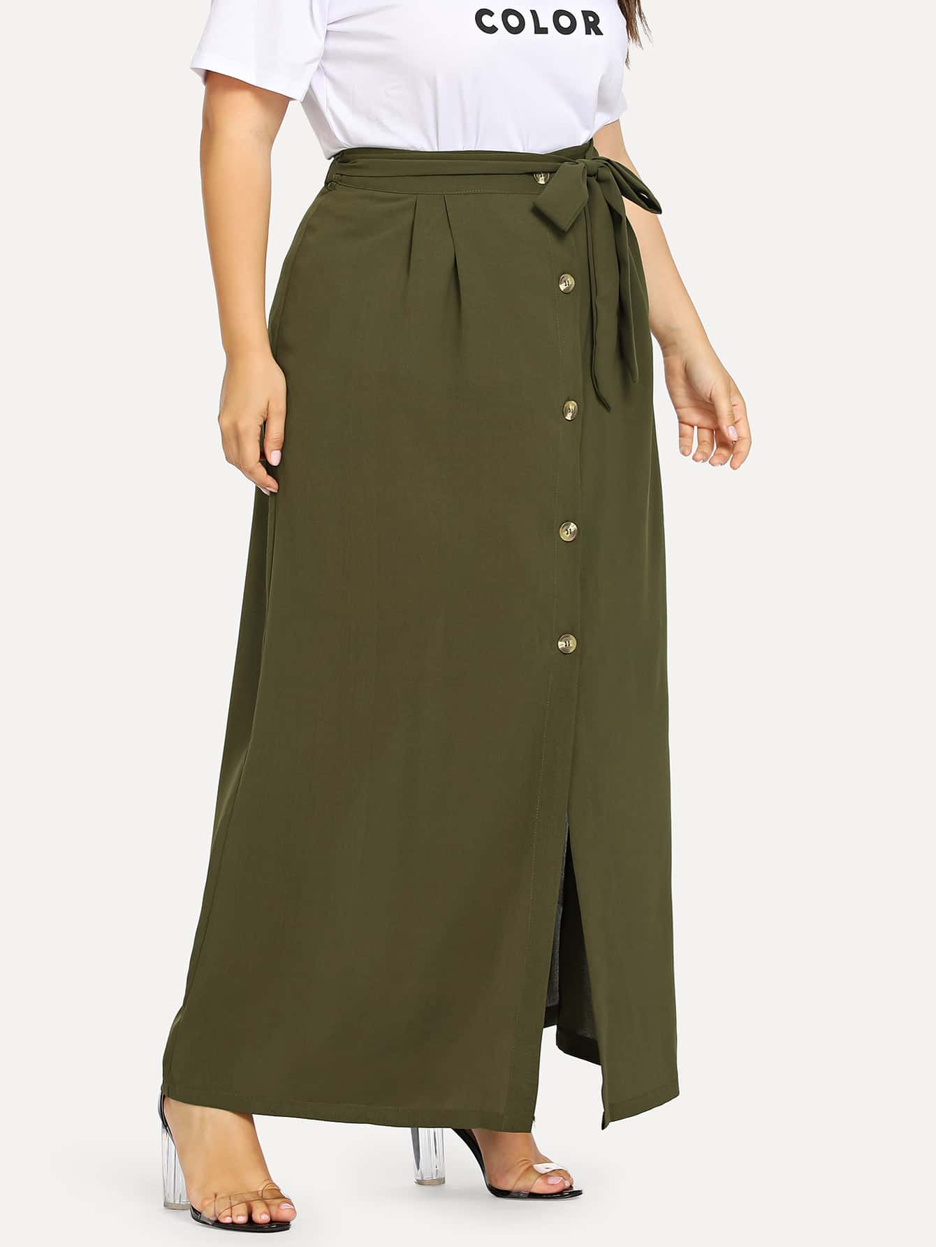 Plus Button Front Waist Belted Skirt