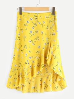 Ruffle Hem Flower Print Skirt