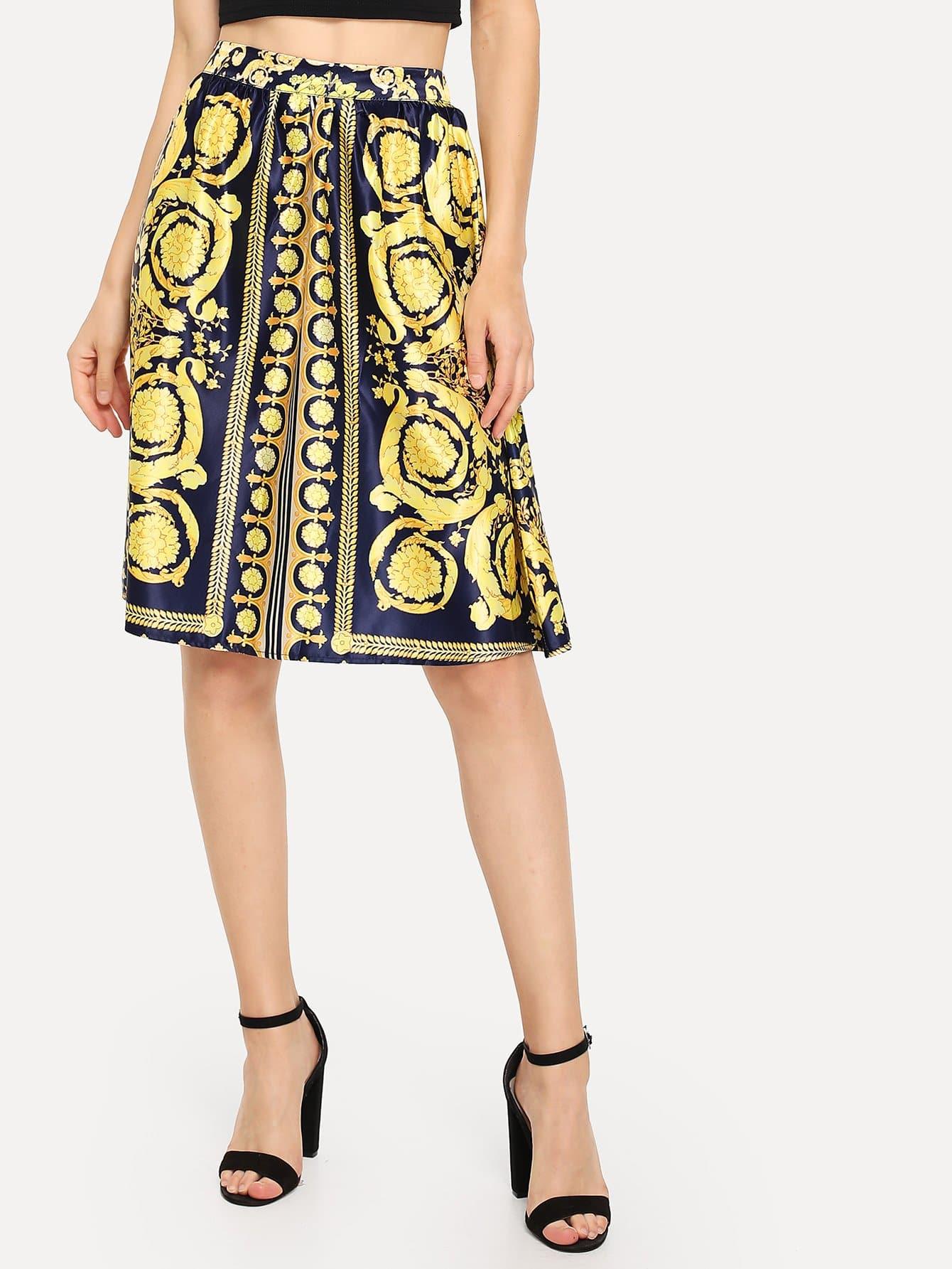 Купить Изысканная юбка печати, Nedab, SheIn