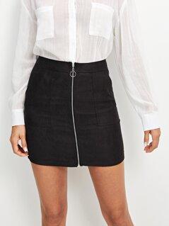 Pocket Patched Zipper Up Skirt