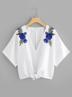Button Front Embroidered Knot Tee