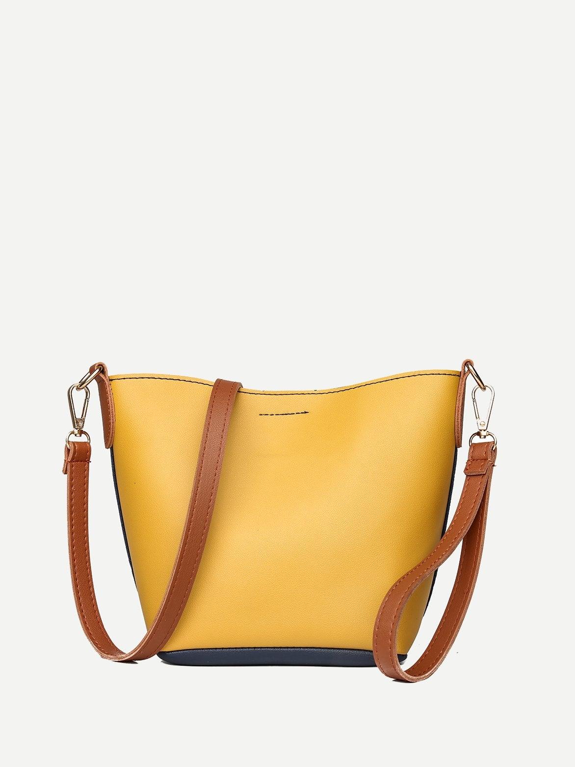 Купить Цветная кусковая сумка через плечо, null, SheIn