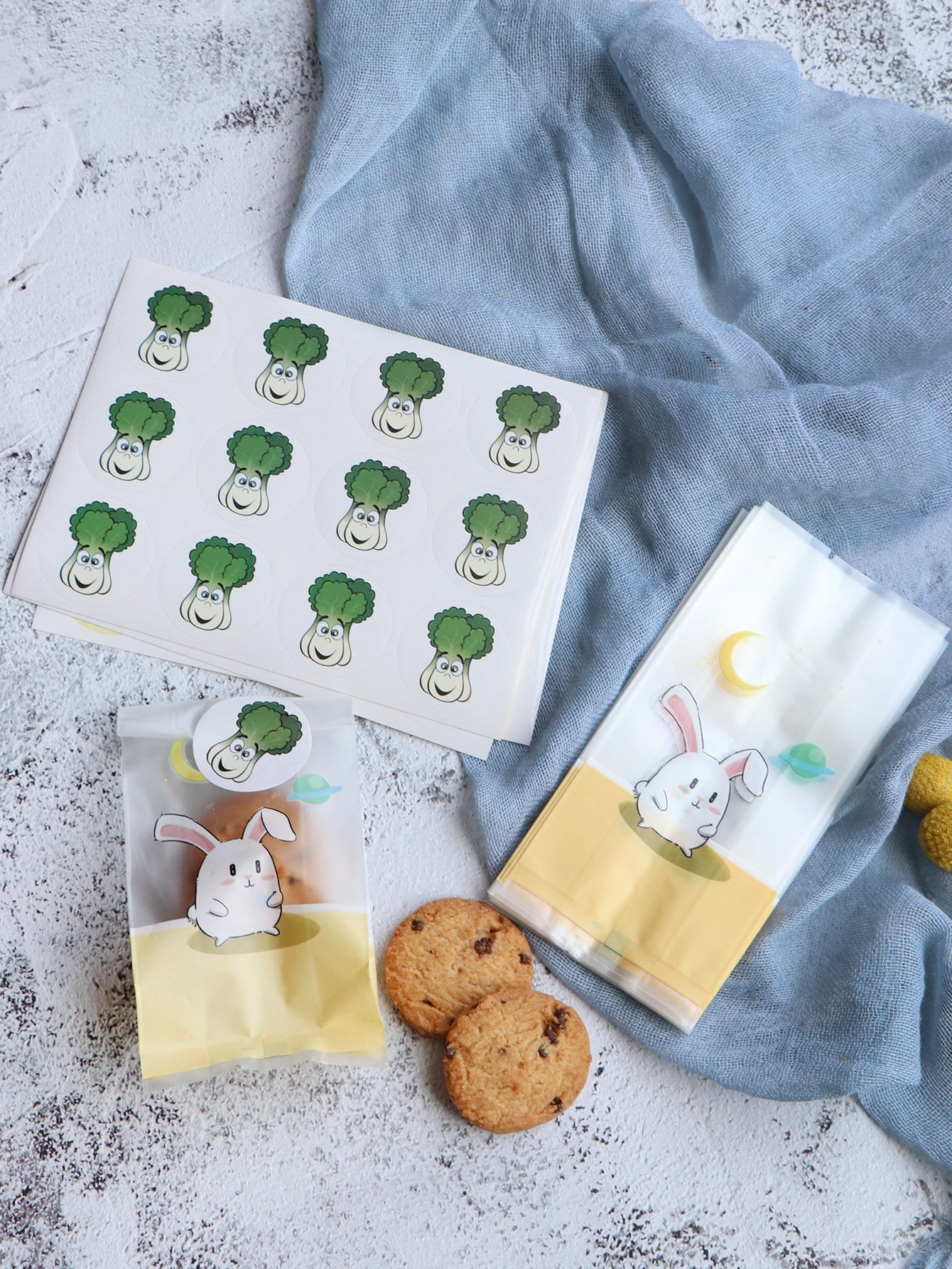 Kaninchen Muster Keks Tasche 50pcs mit Aufkleber 5pcs