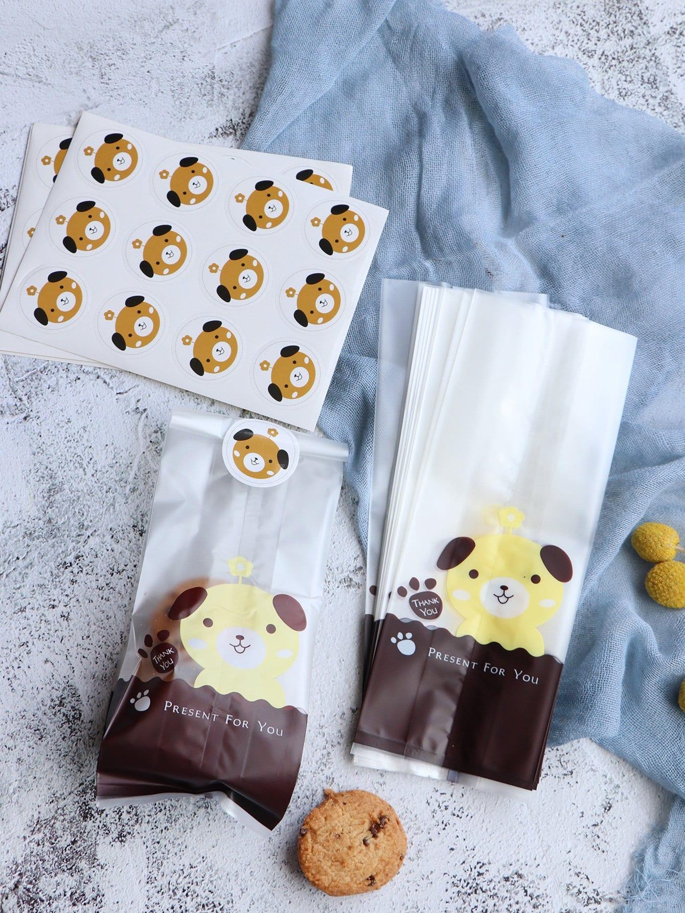 Hundekuchen Keks Tasche 50pcs mit Aufkleber 5pcs