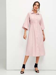 Flare Sleeve Elastic Waist Shirt Dress