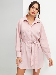 Self Belted Button Up Shirt Dress