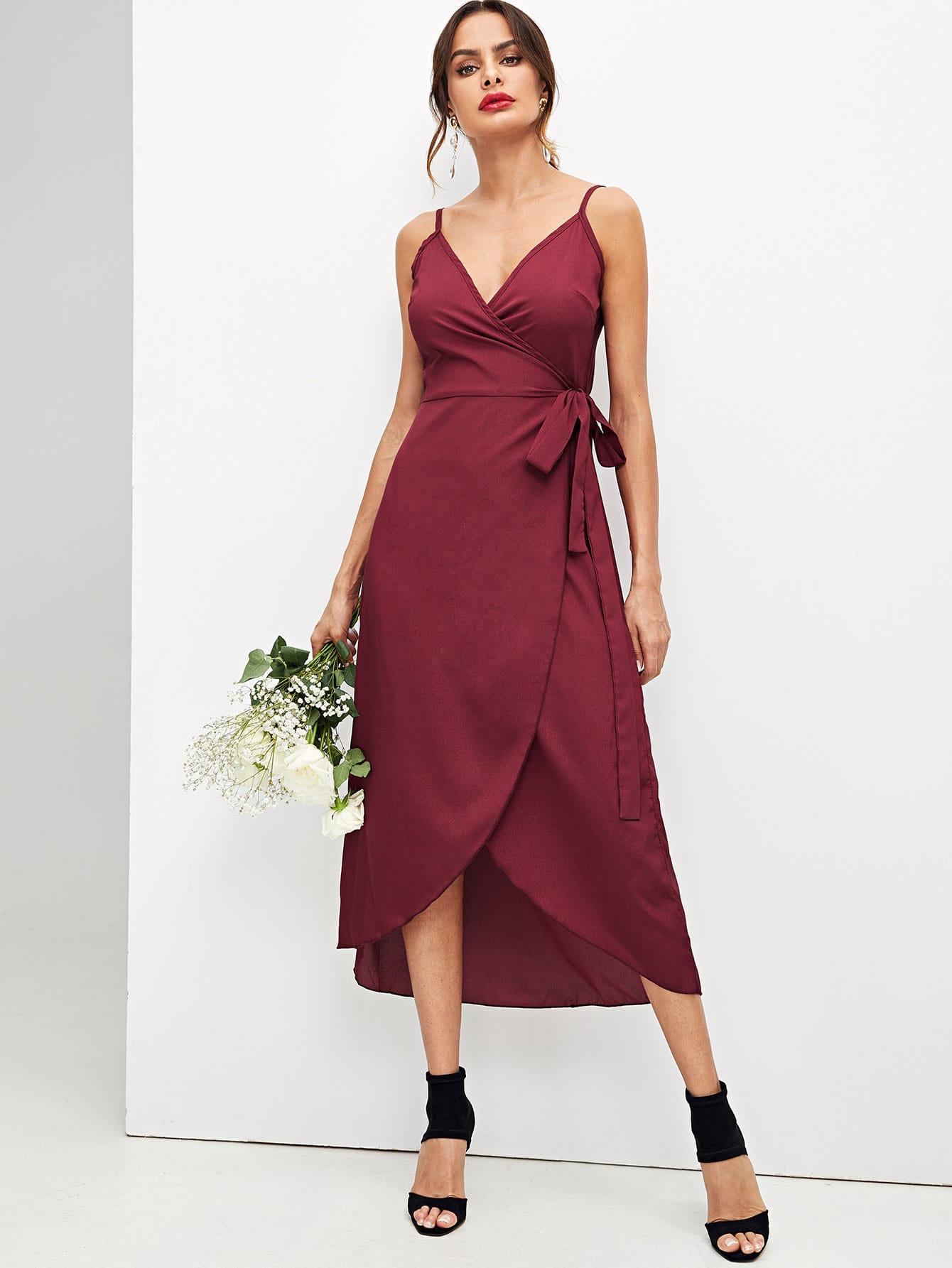 Купить Простое платье на бретелях и с V-образным вырезом, Andy, SheIn