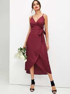 Surplice Neck Solid Cami Dress