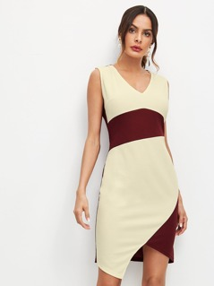 Cut And Sew Two Tone Dress