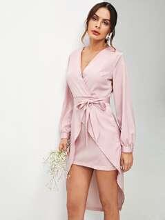 Self Belted Asymmetrical Hem Wrap Dress