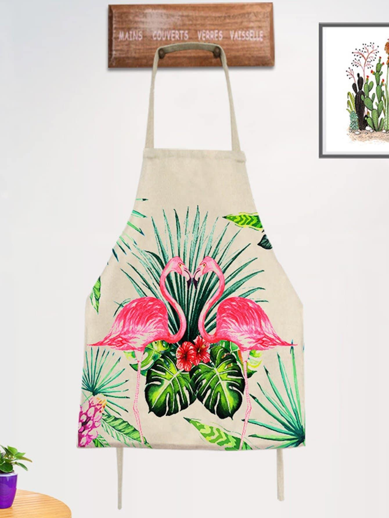 Фартук с рисунками фламинго и тропических листьев