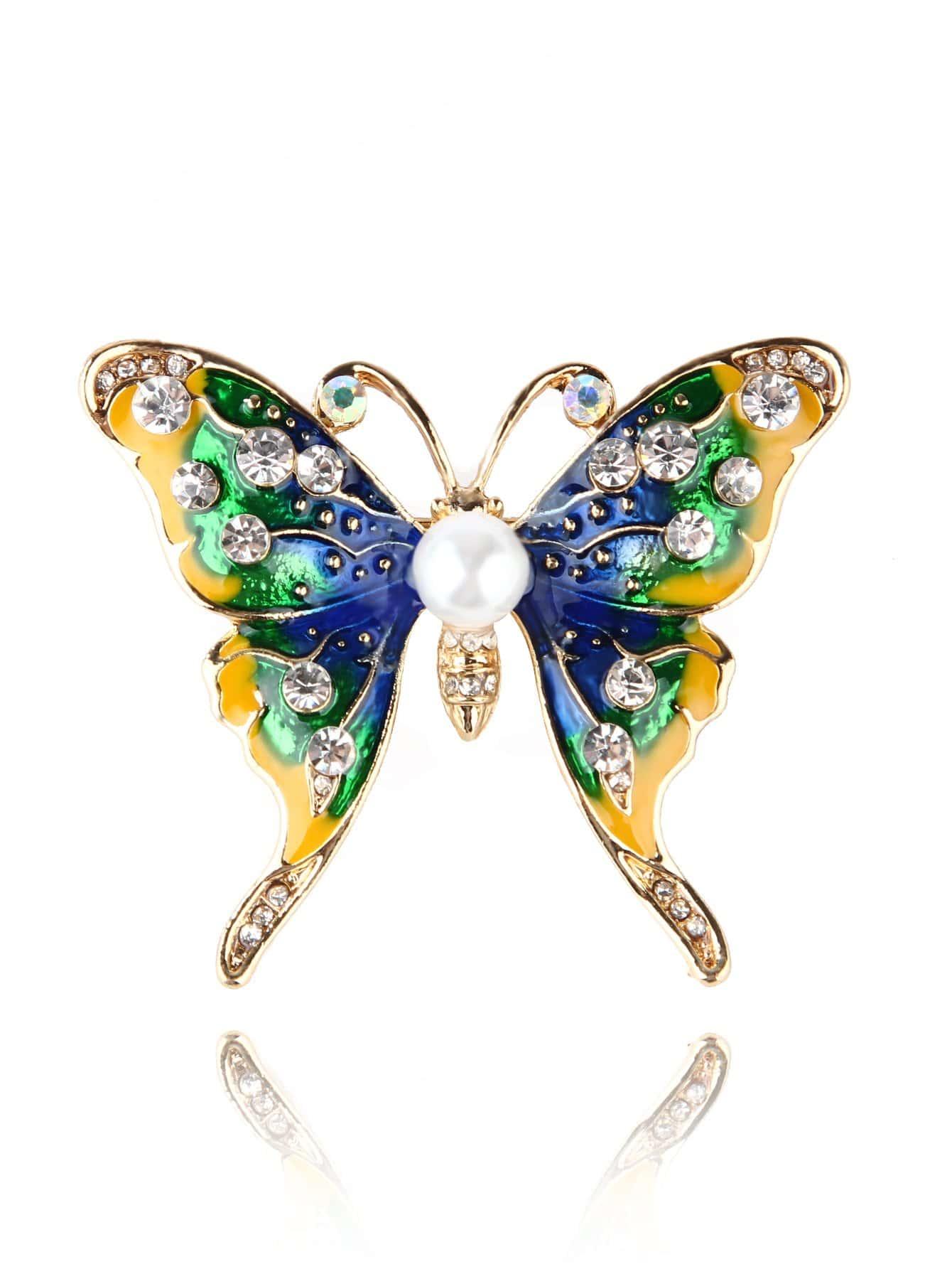Faux Pearl Detail Butterfly Brooch