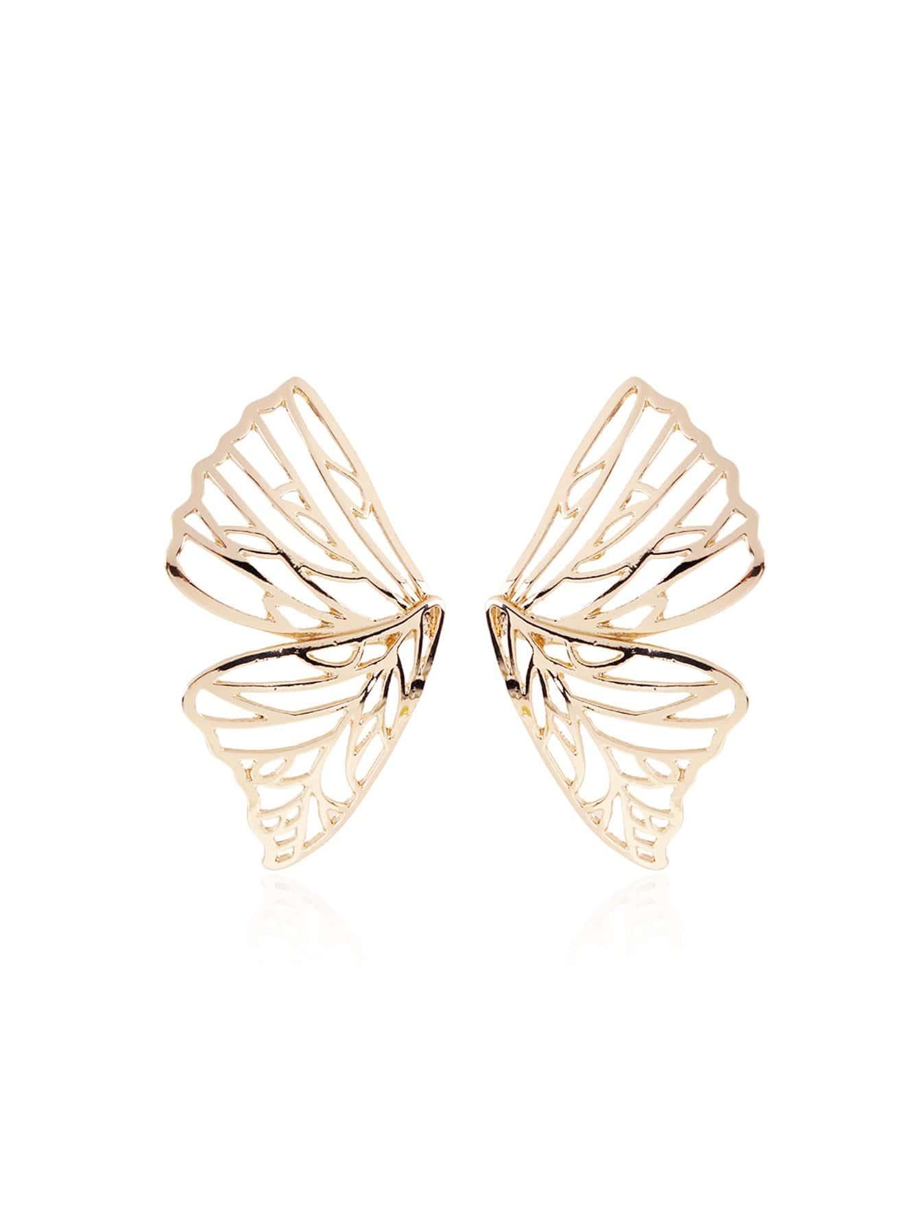 Симметрические серьги с подвеской бабочки