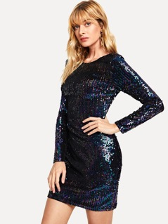 Iridescent Long Sleeve Sequin Bodycon Dress