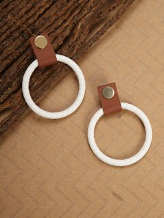 Faux Leather Wrapped Hoop Earrings