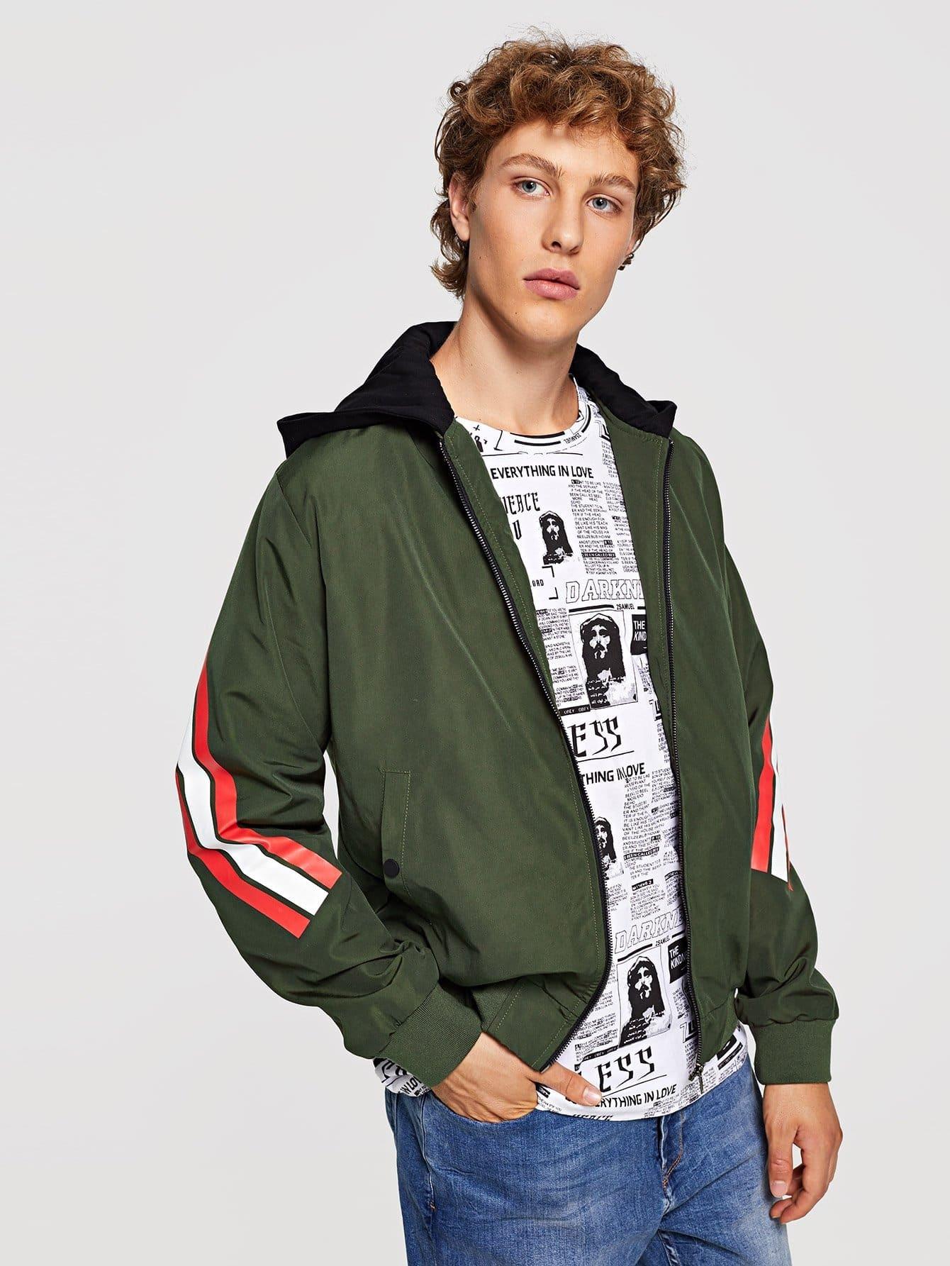 Купить Для мужчин полосатое пальто с капюшоном на молнии, Kristian, SheIn