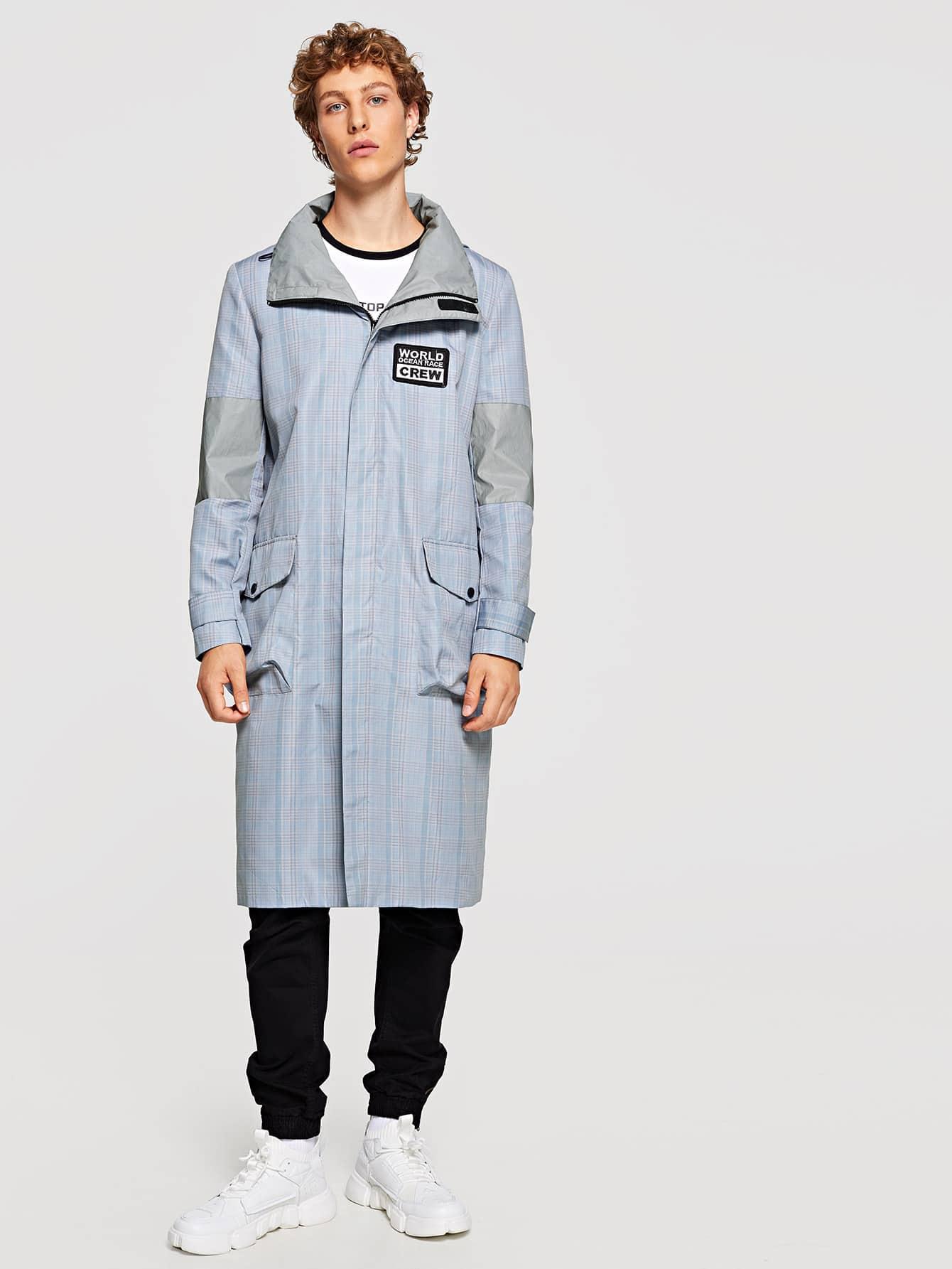 Купить Для мужчин клетчатое пальто на молнии с карманами, Kristian, SheIn