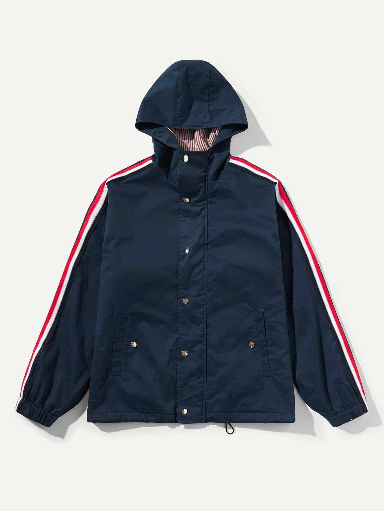 Купить Для мужчин полосатое пальто с капюшоном на пуговицах, null, SheIn