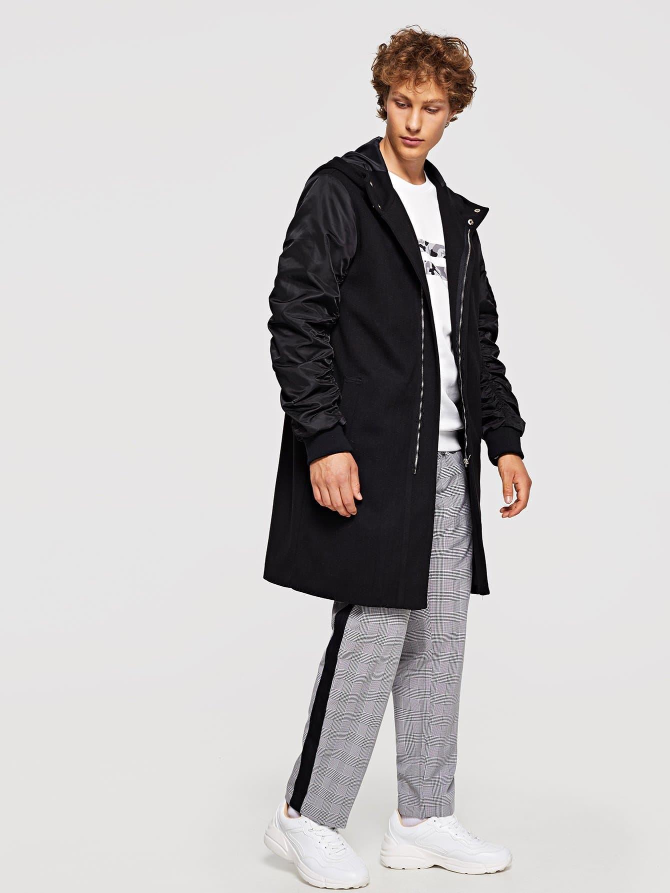 Для мужчин пальто с капюшоном на пуговицах, Kristian, SheIn  - купить со скидкой