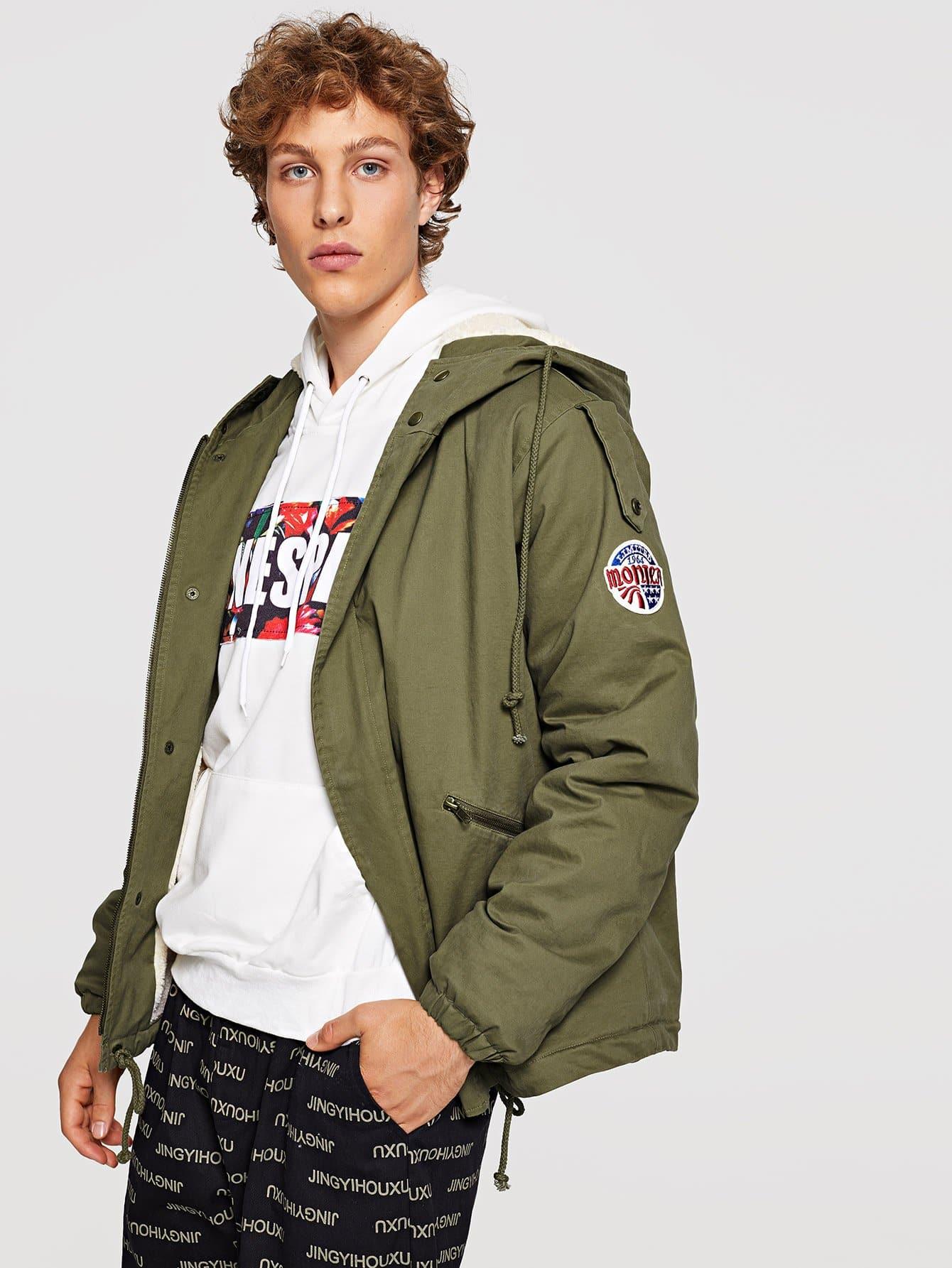 Купить Для мужчин пальто на молнии пуговицах с кулиской, Kristian, SheIn