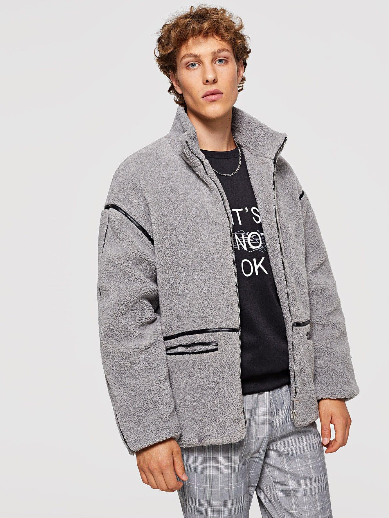 Купить Для мужчин пальто из искусственной меха на молнии, Kristian, SheIn