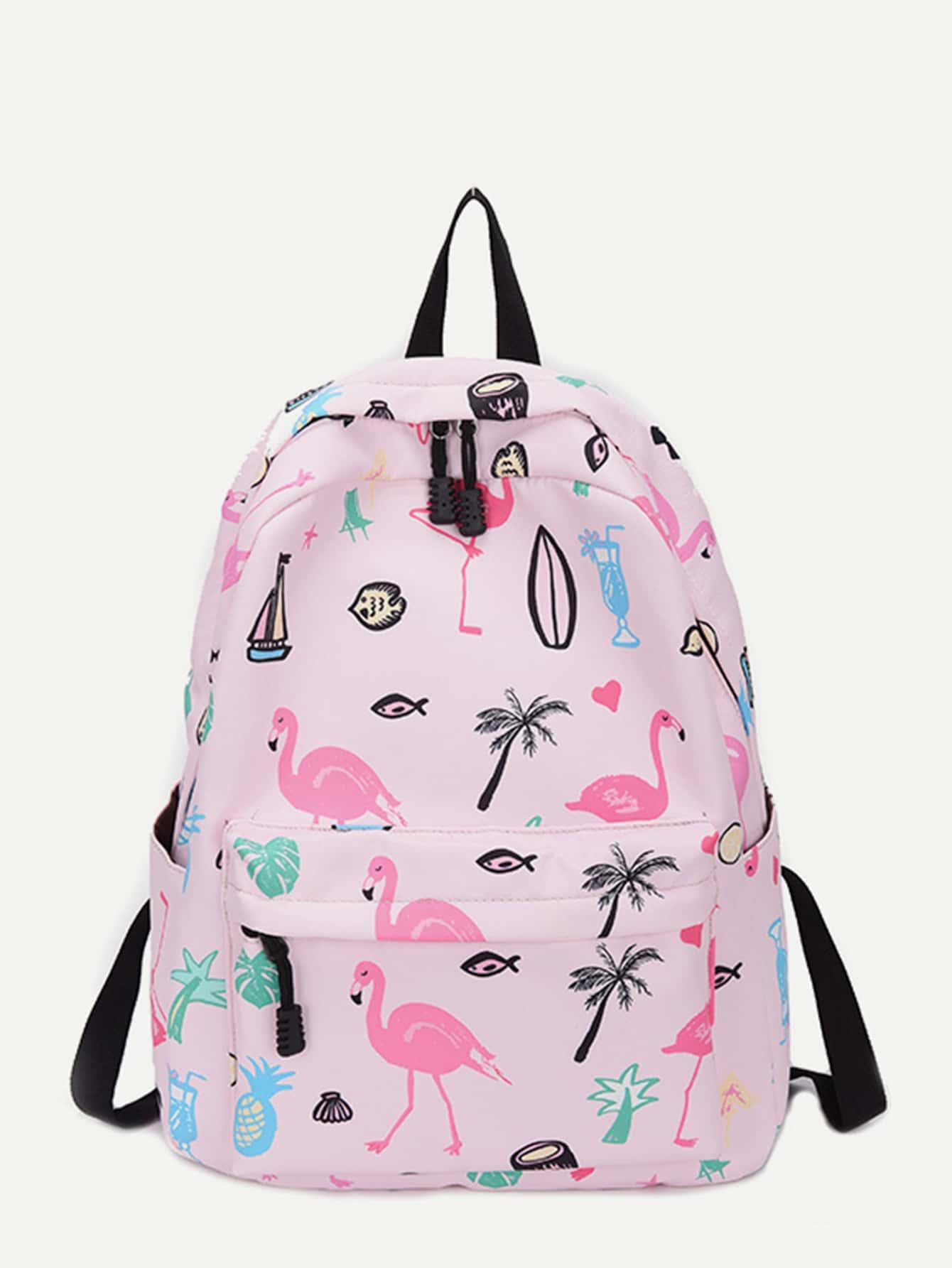 Flamingo Print Oxford Backpack
