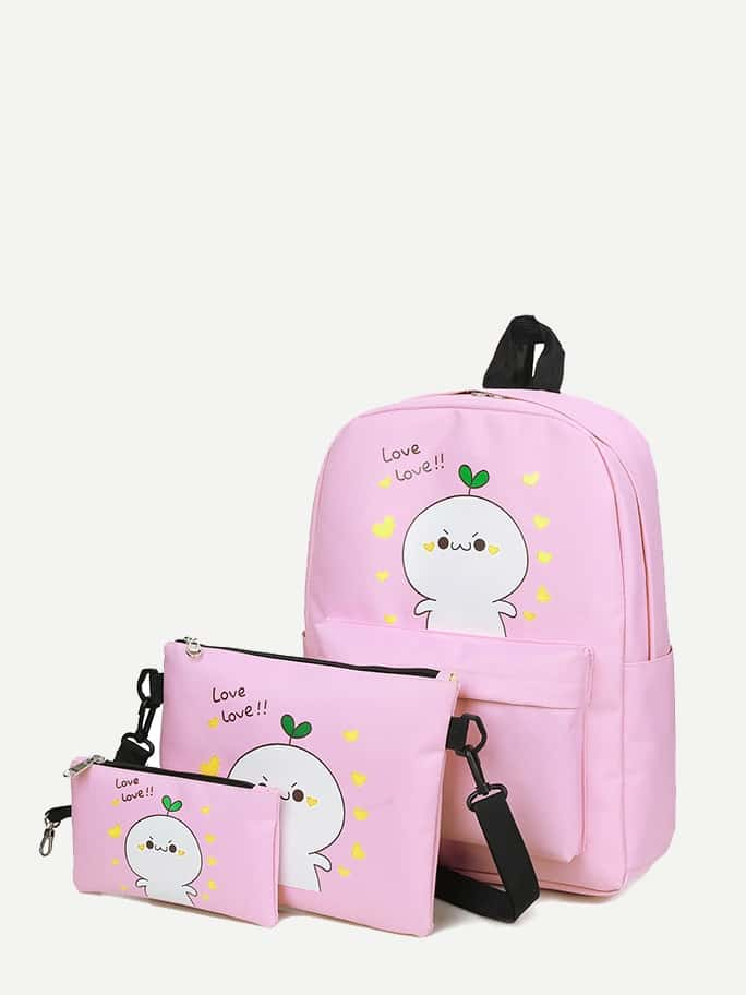 Купить Парусиновый рюкзак с рисунками мультипликаций и с маленькой сумкой 3 шт, null, SheIn