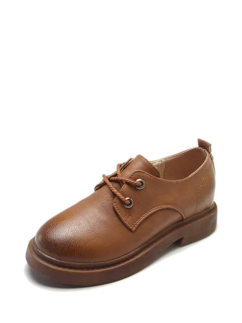 Lace Up PU Oxfords With Replaceable Laces, Brown