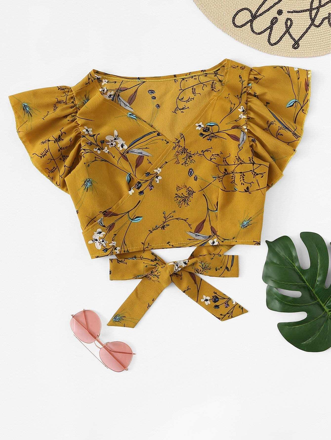 Botanical Print Ruffle Sleeve Crop Blouse