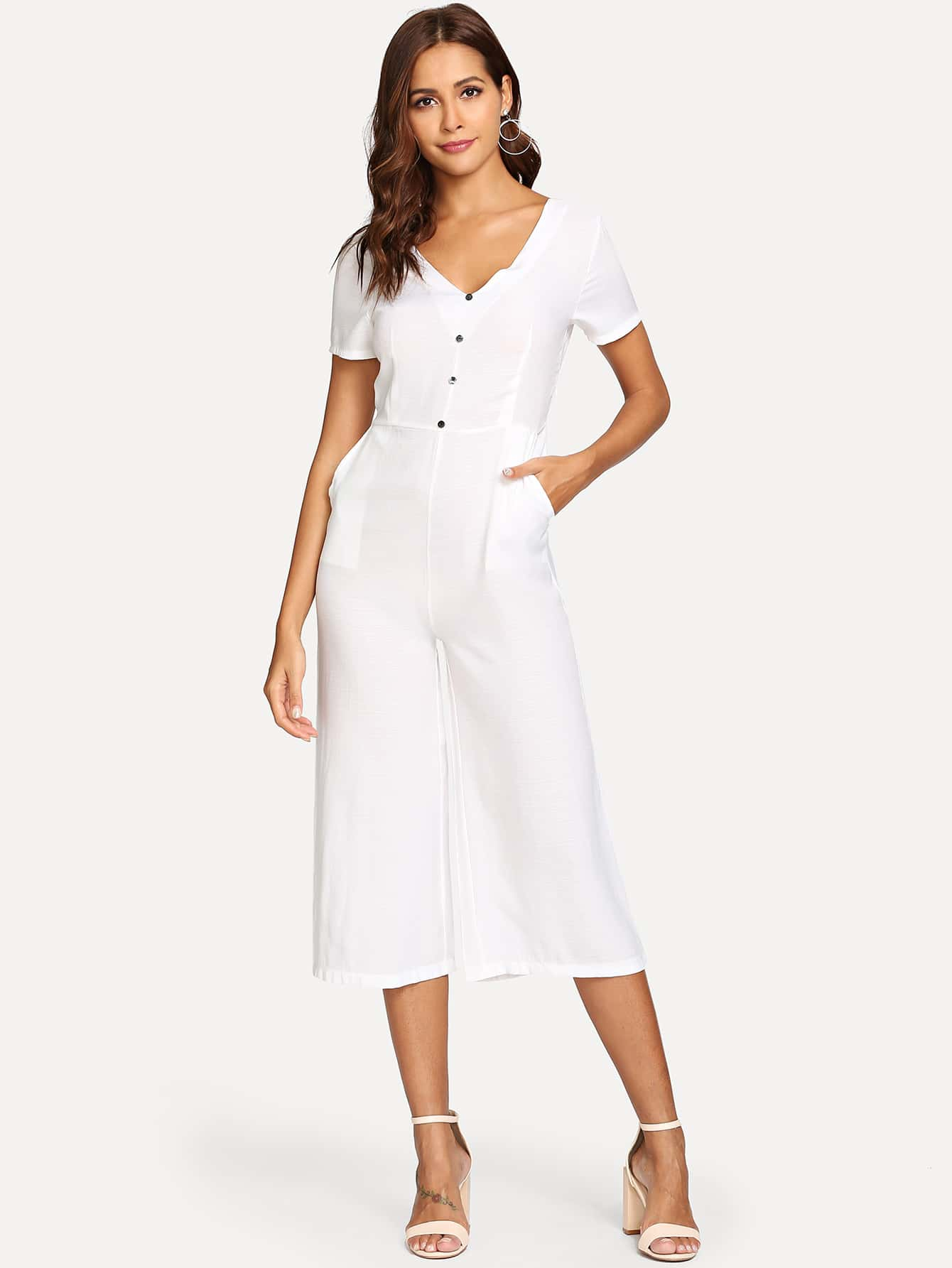 Double V-Neckline Button Front Jumpsuit