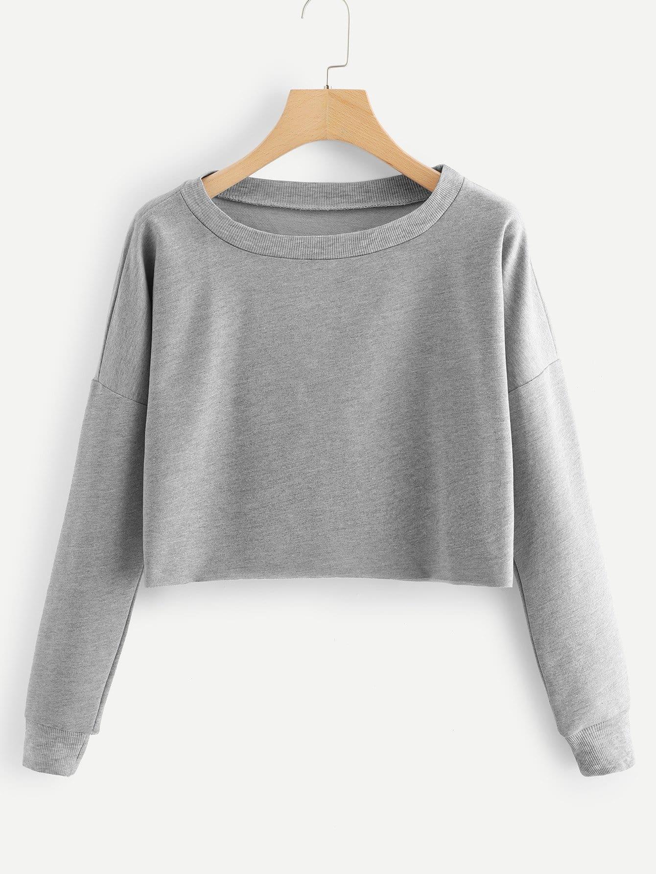 Drop Shoulder Raw Hem Marled Pullover