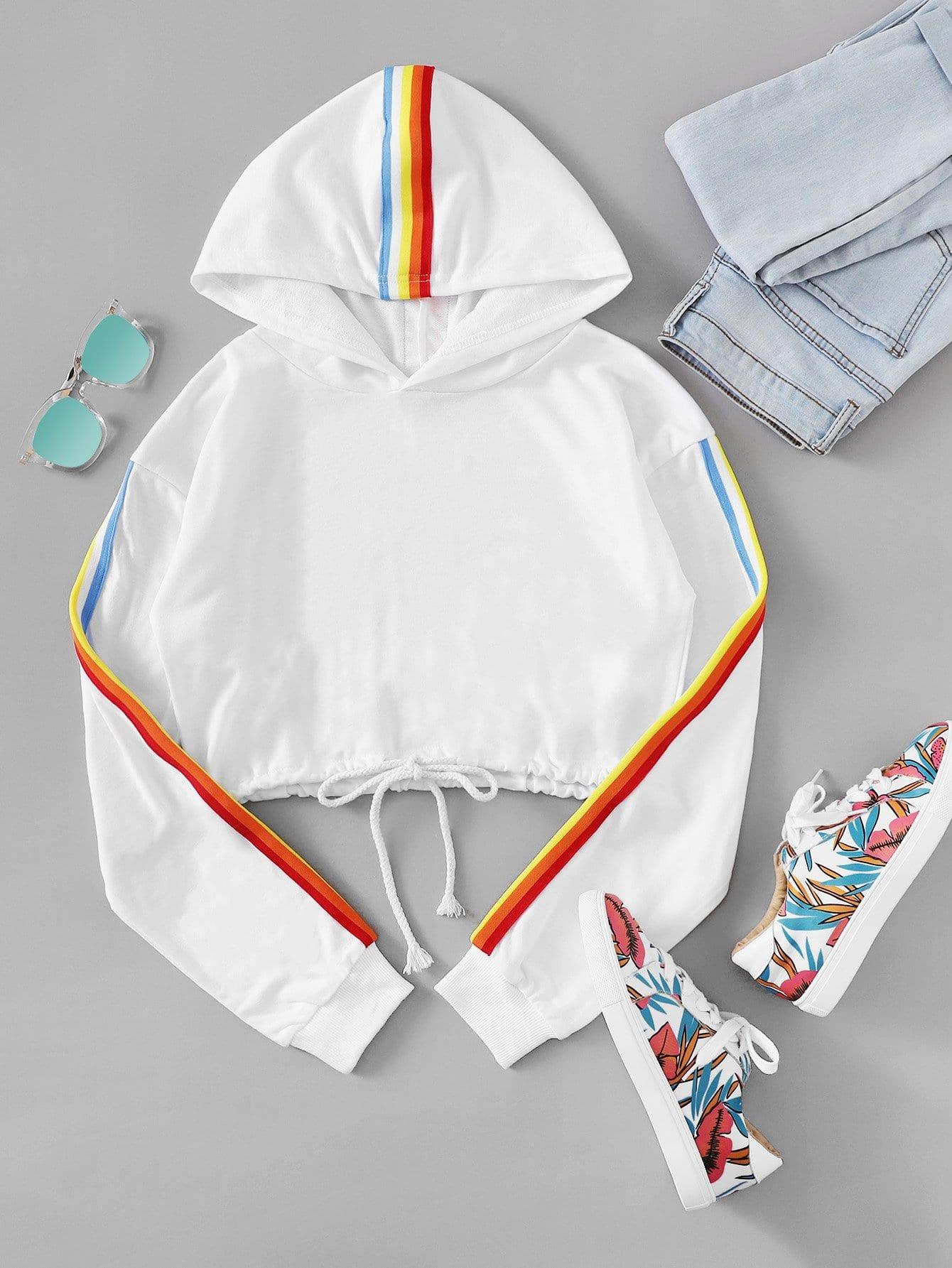 Rainbow Stripe Tape Detail Hoodie