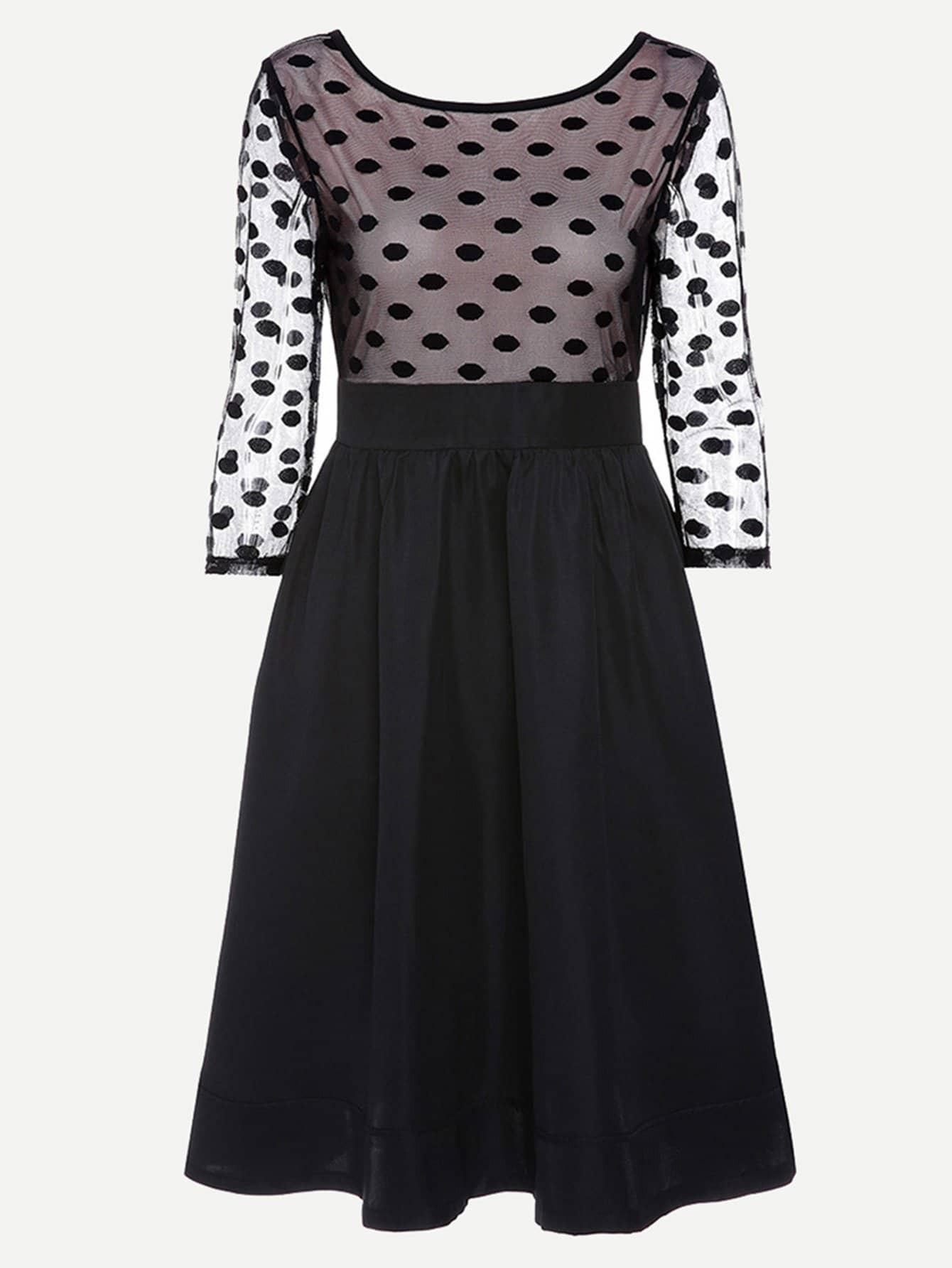 Купить Платье с рисунками точки и со симметрическими кружевами, null, SheIn