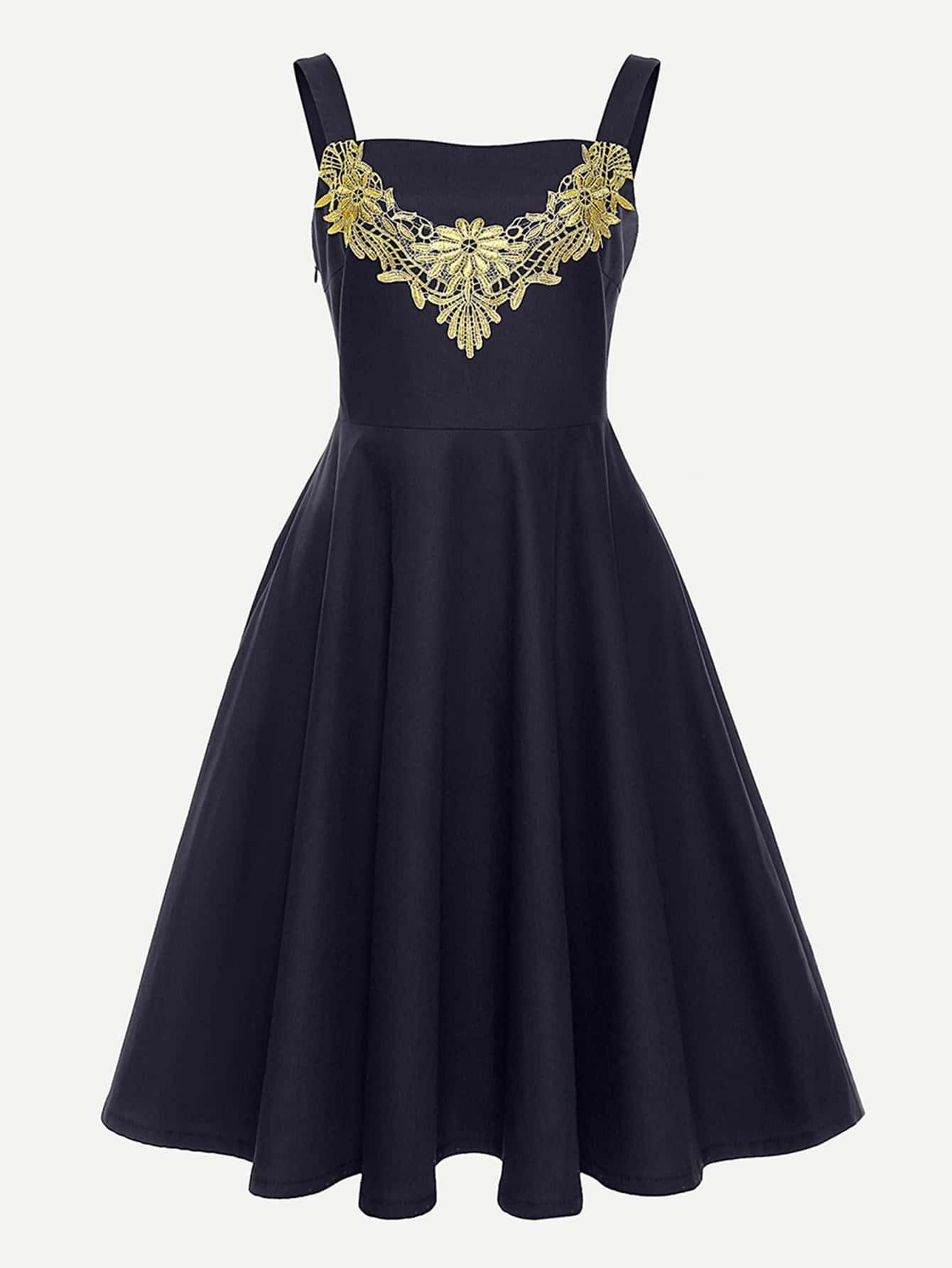 Купить Ситцевое платье на бретелях со симметрическими кружевами, null, SheIn
