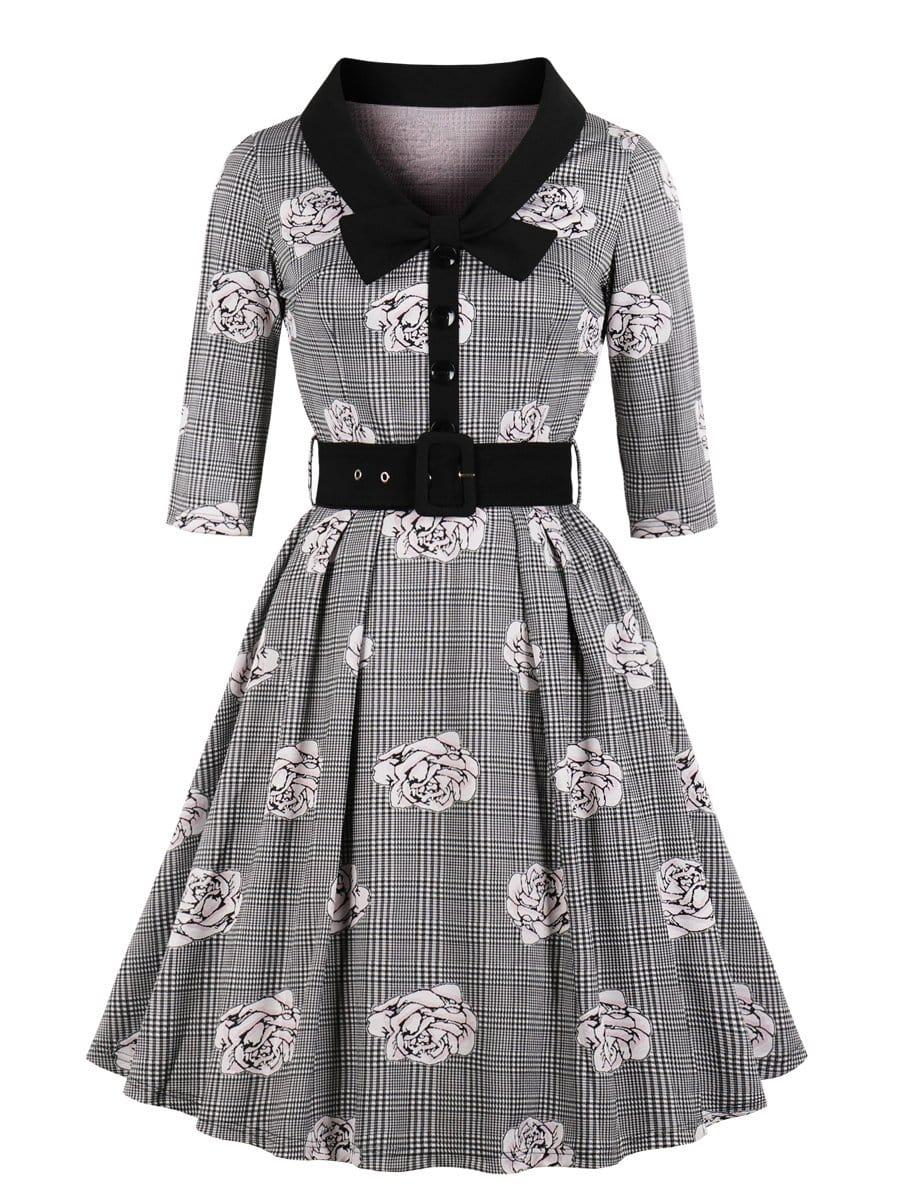 Купить Ситцевое платье в клетку и с украшением пуговицы, null, SheIn