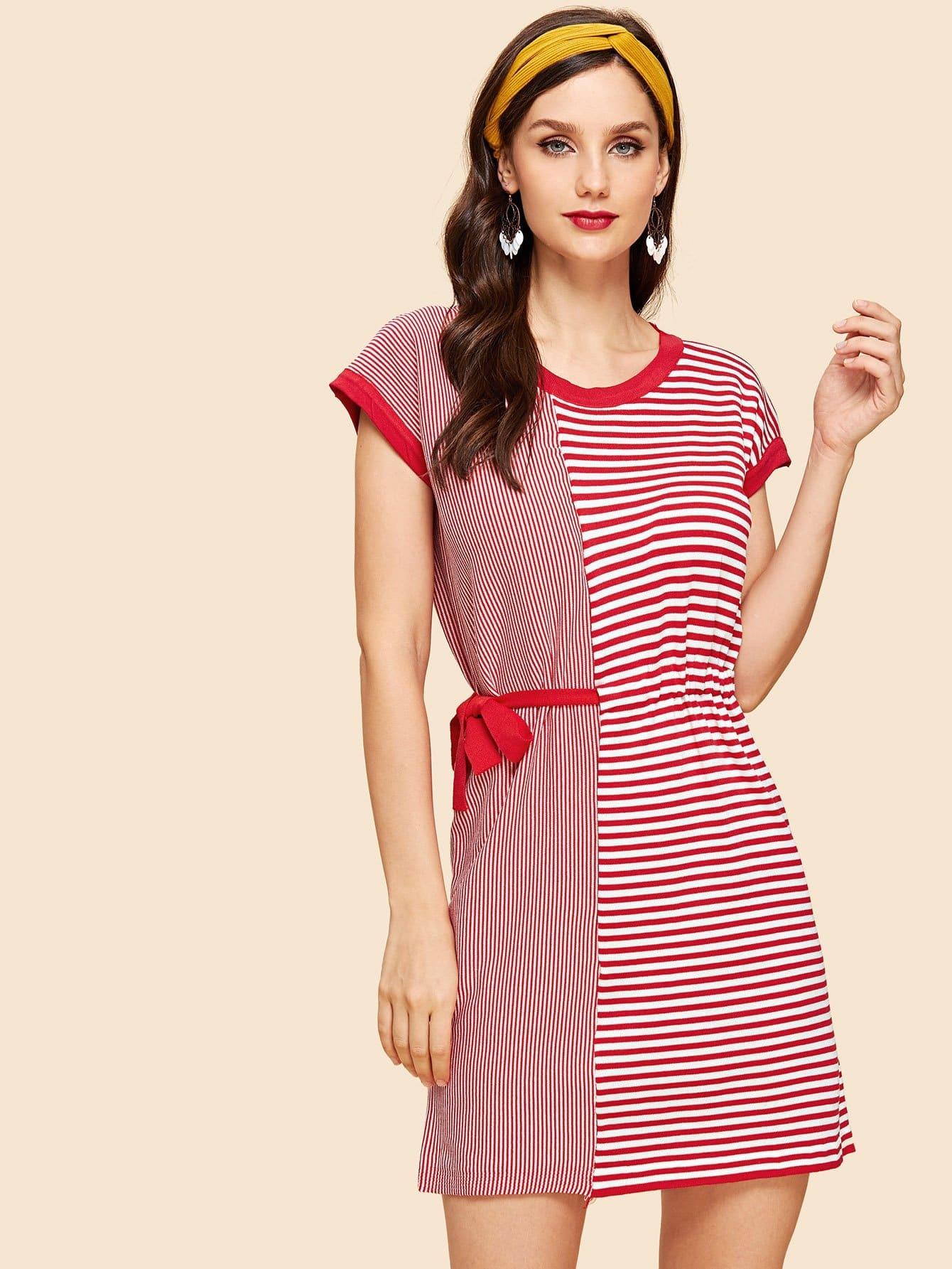 Tie Side Stripe Contrast Dress устройство зарядное цифровое autoprofi агрессор agr sbc 150 start 9 фаз зарядки ток 2 6 10 15 а