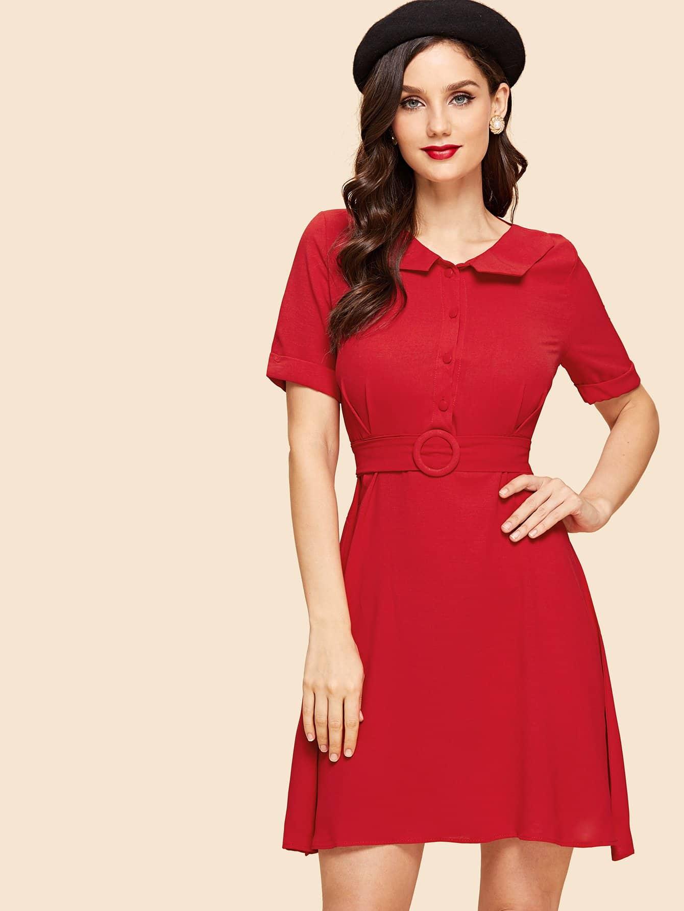 Купить Платье с украшением пуговицы и с поясом, Julie H., SheIn
