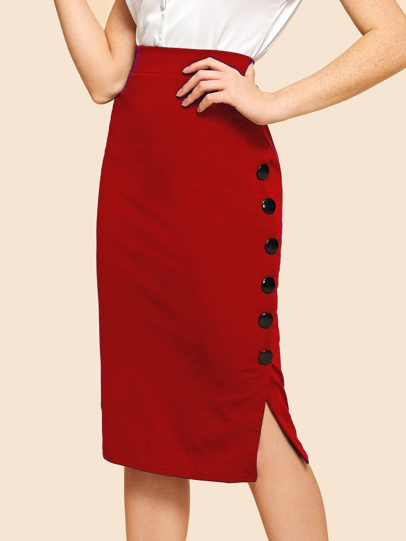 Купить Простая юбка с украшением пуговицы, Nathane, SheIn