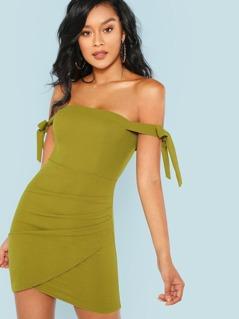 Arm Tie Detail Mini Dress