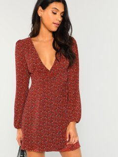 Leopard Print Plung Neck Wrap Dress