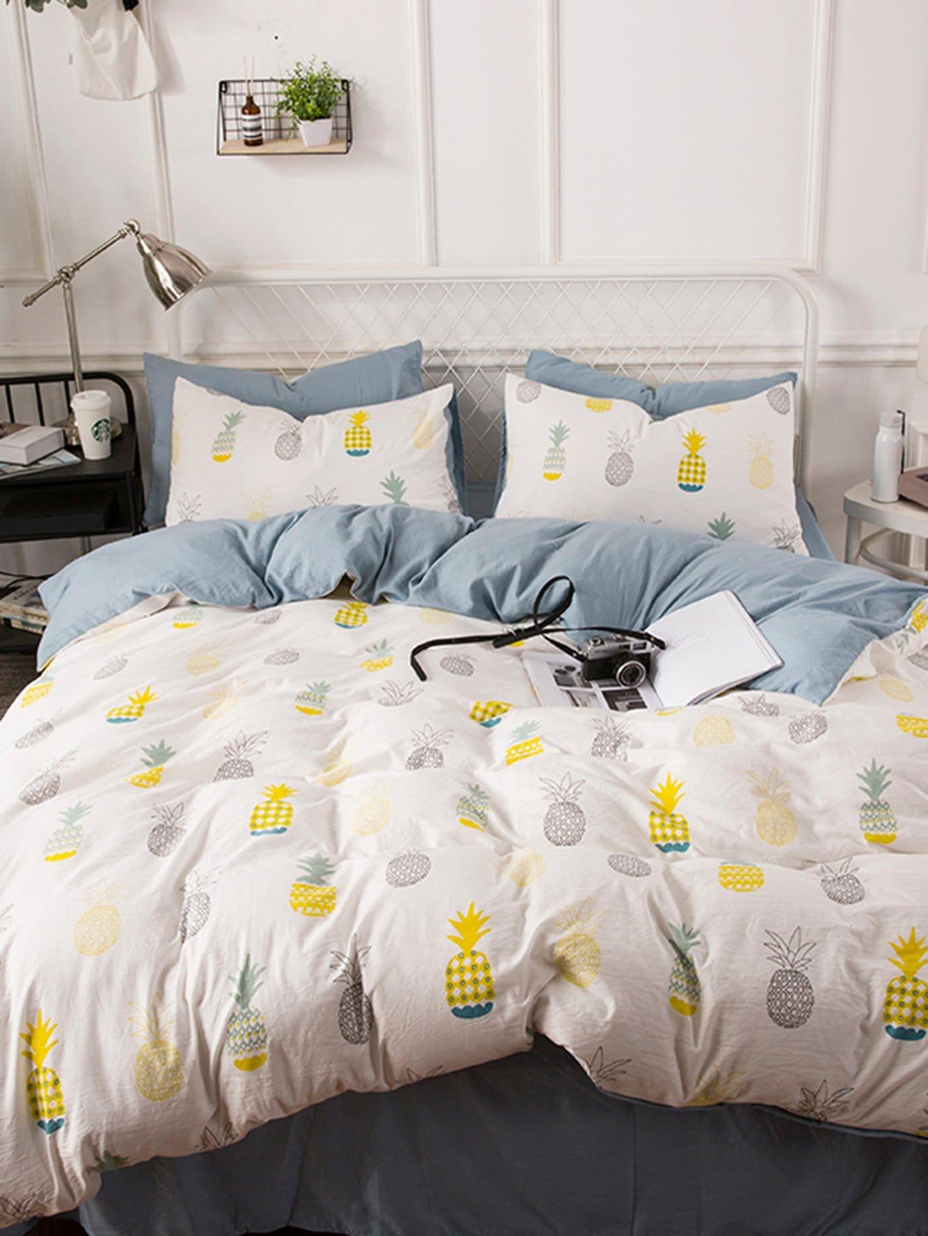 Купить Комплект постельного белья с рисунками ананасов, null, SheIn