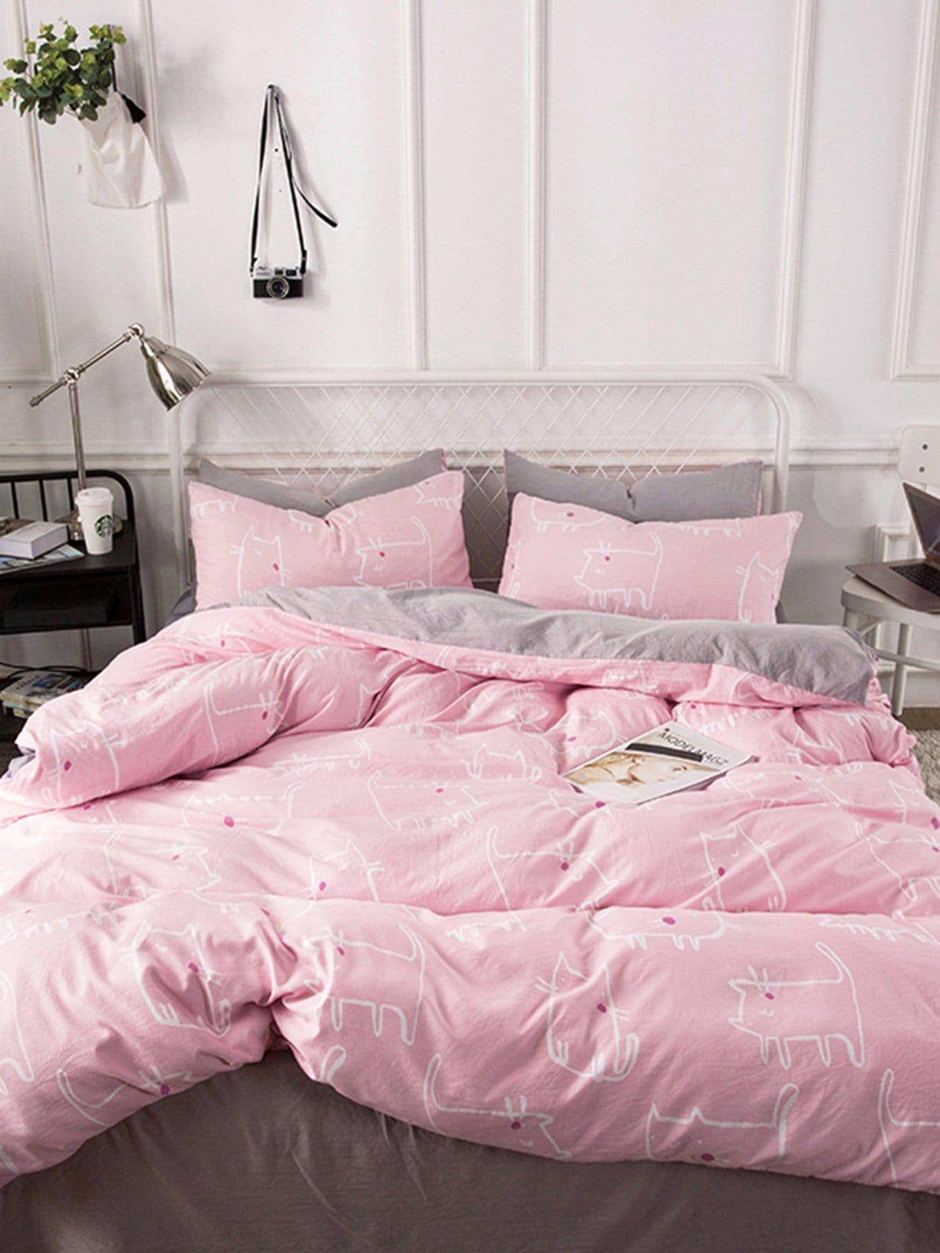Купить Комплект постельного белья с рисунками котов, null, SheIn