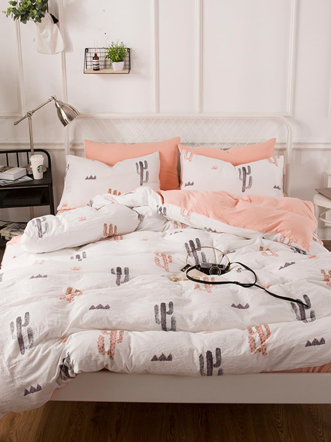 Купить Комплект постельного белья с рисунками кактусов, null, SheIn