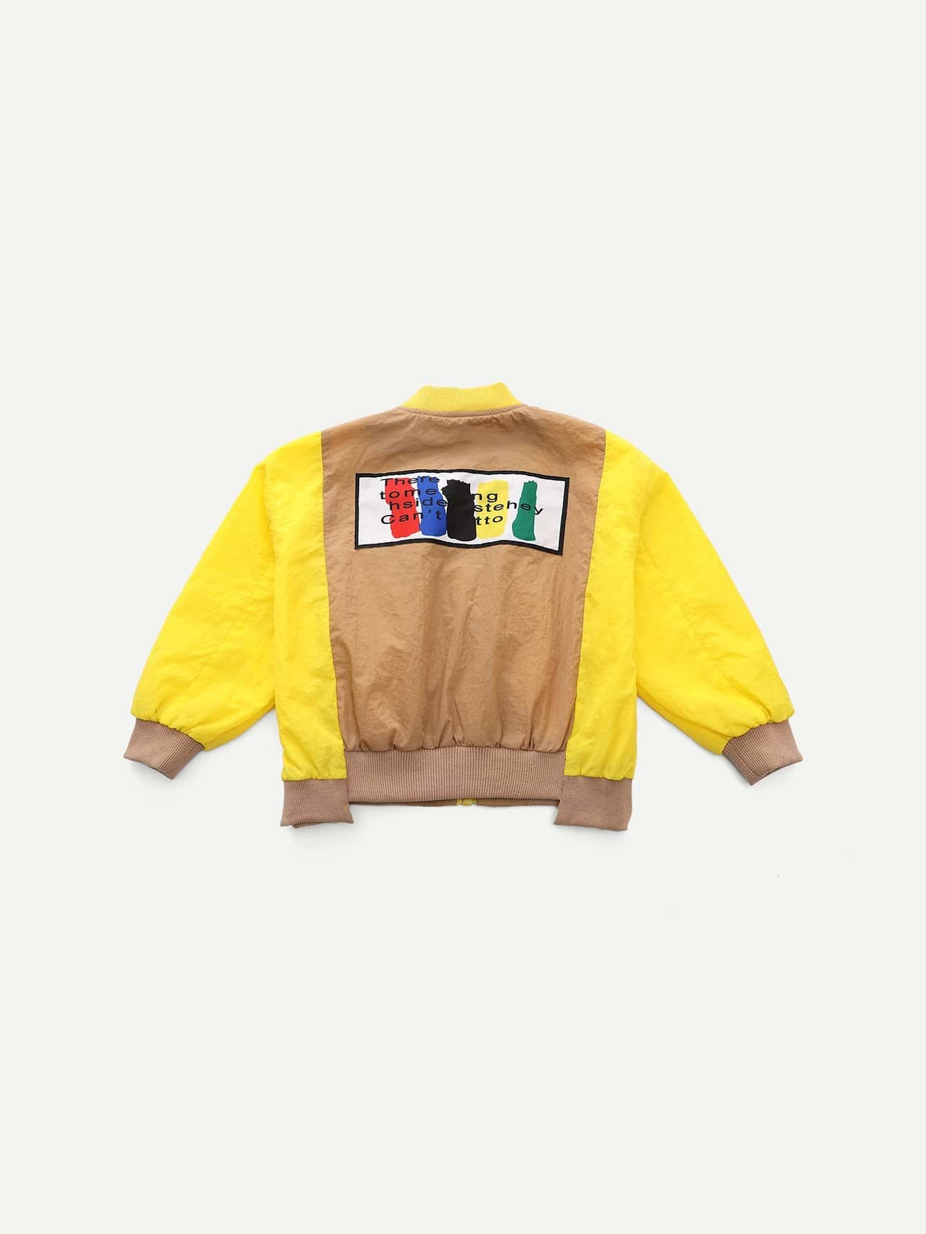 Girls Cut And Sew Panel Letter Print Jacket