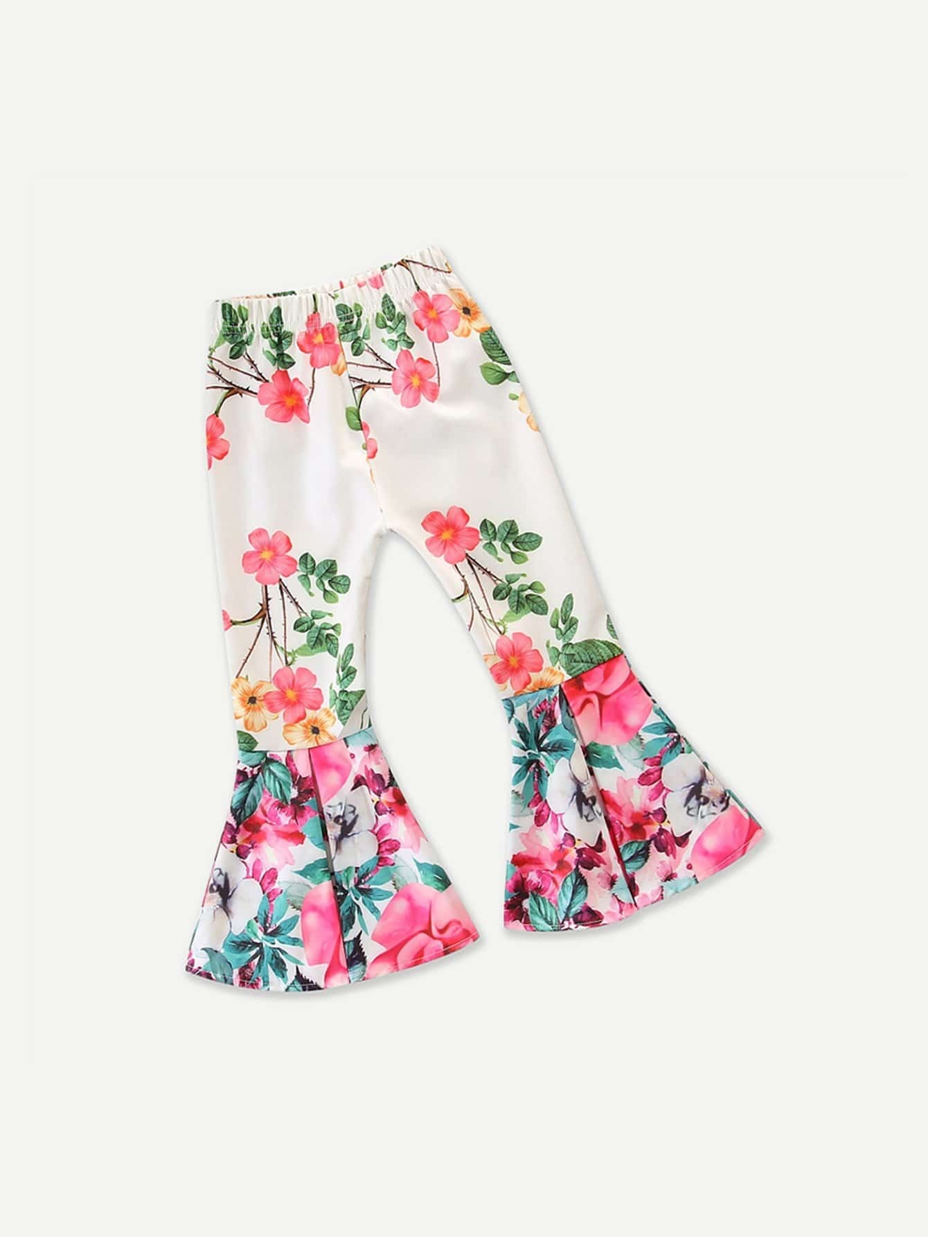 Girls Allover Floral Print Flounce Pants
