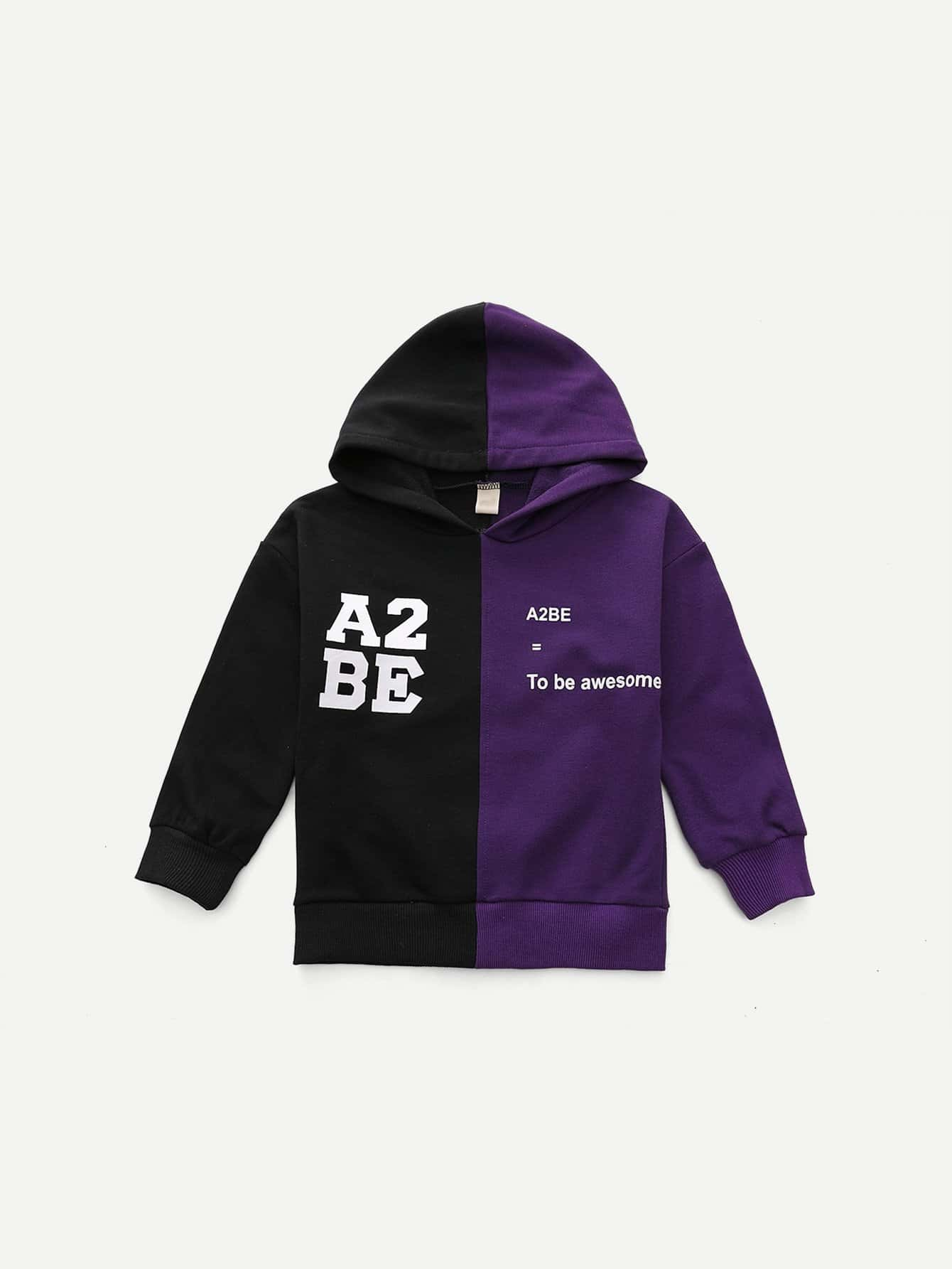 Boys Cut And Sew Panel Letter Print Hoodie