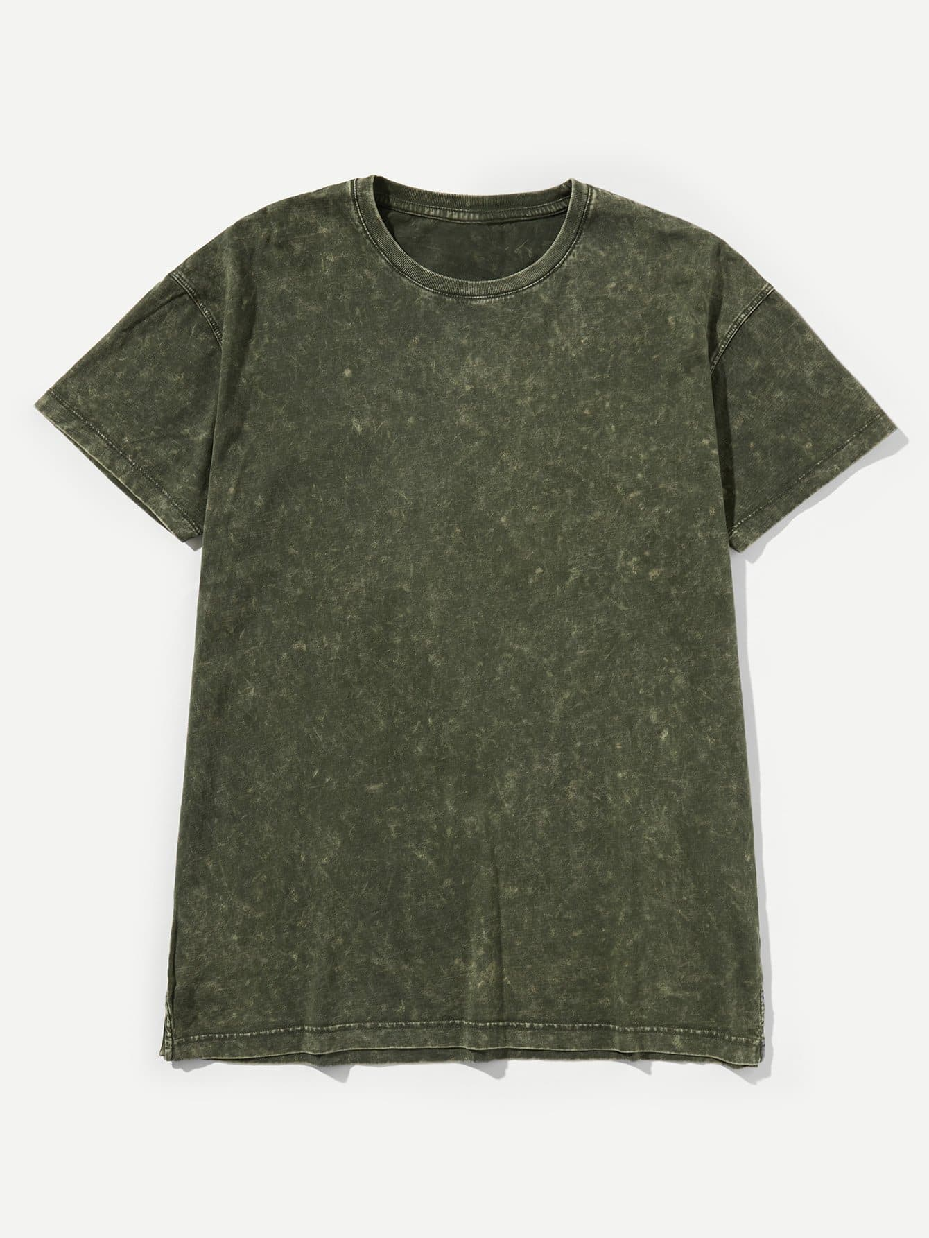Men Washed Plain Cuffed Tee