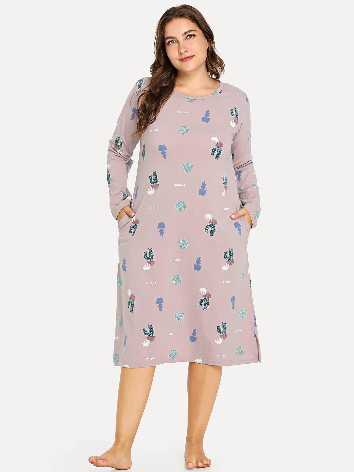 Купить Большое платье с рисунками кактусов и с вырезом, Franziska, SheIn